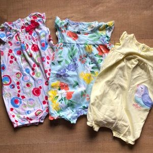 Lot of 3 baby girl rompers